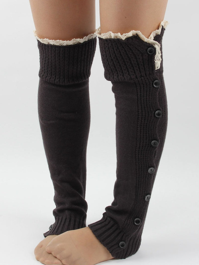 Warm lace button knit socks socks over the knee wool toe cover
