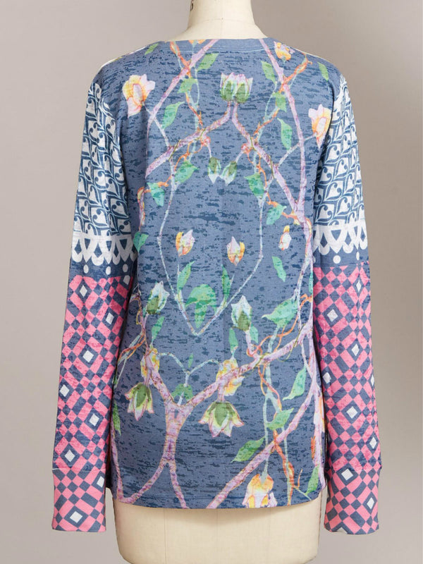Multicolor Holiday Floral Round Neck Shirts & Tops