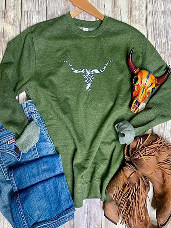 Green Abstract Casual Shift Crew Neck Sweatshirt