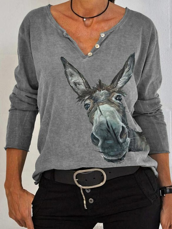 Animal V Neck Casual Sweatshirt