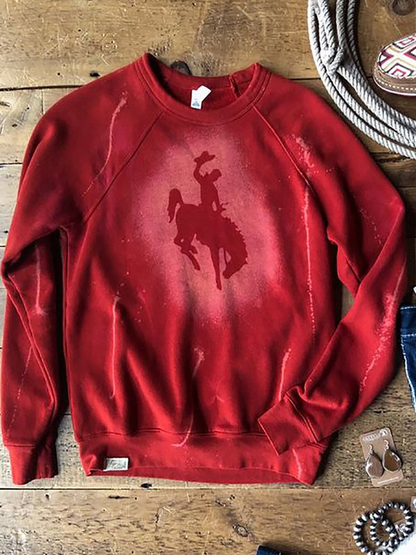 Red Crew Neck Shift Animal Casual Sweatshirt