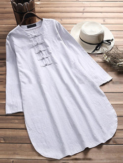 V neck  A-line Women Daytime Long Sleeve Cotton Buttoned Solid Casual Dress
