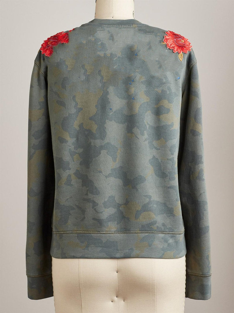 Army Green Floral Holiday Embroidered Sweatshirt
