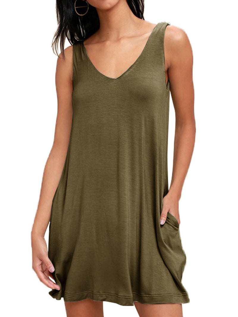 Casual Daily V Neck Sleeveless Dress