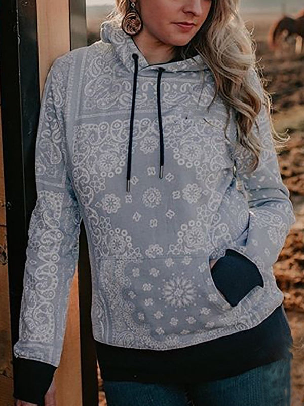 Gray Floral Long Sleeve Shift Sweatshirt