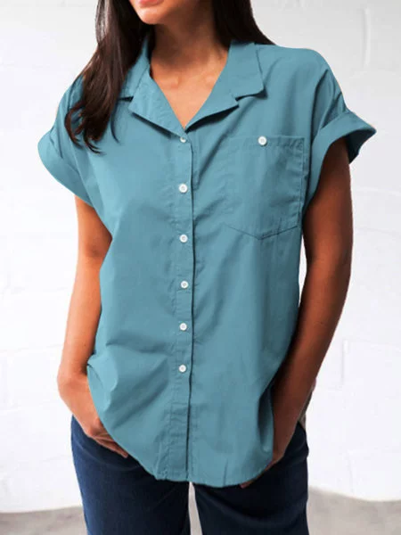 Shirt Collar Buttoned Casual Shirts & Tops