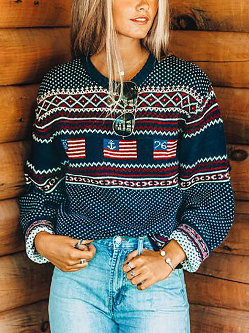Blue Long Sleeve Casual Sweater