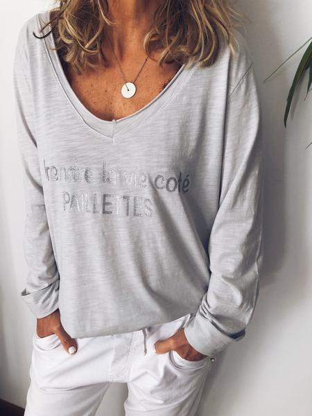 Letter Long Sleeve Round Neck Casual Shirts & Tops