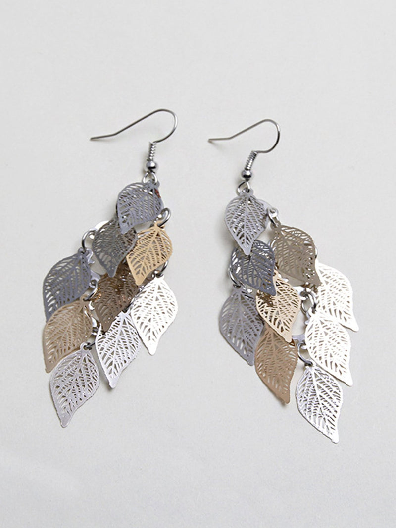 Womens Leaf Copper Colorful Earring