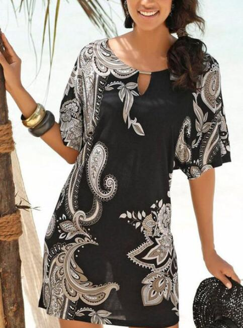 Black Boho Cotton-Blend Dresses