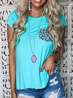 Blue Leopard Short Sleeve Crew Neck Shirts & Tops