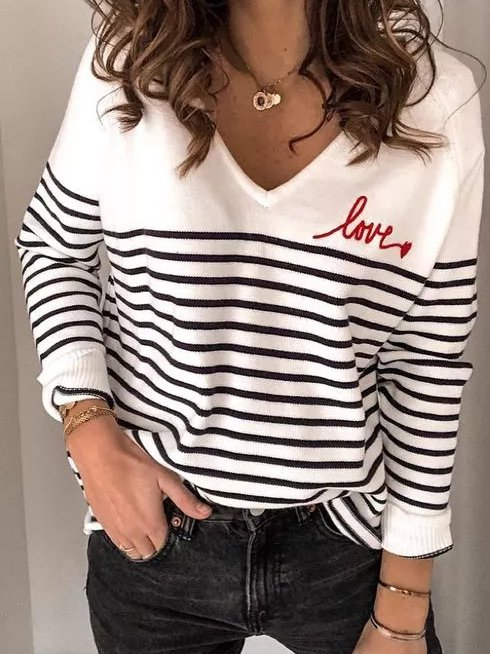 Casual V Neck Sweater