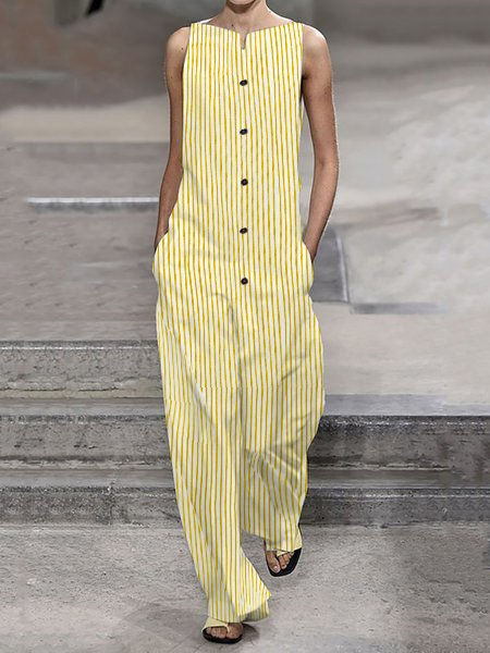 V Neck Stripes Buttoned-front Jumpsuits