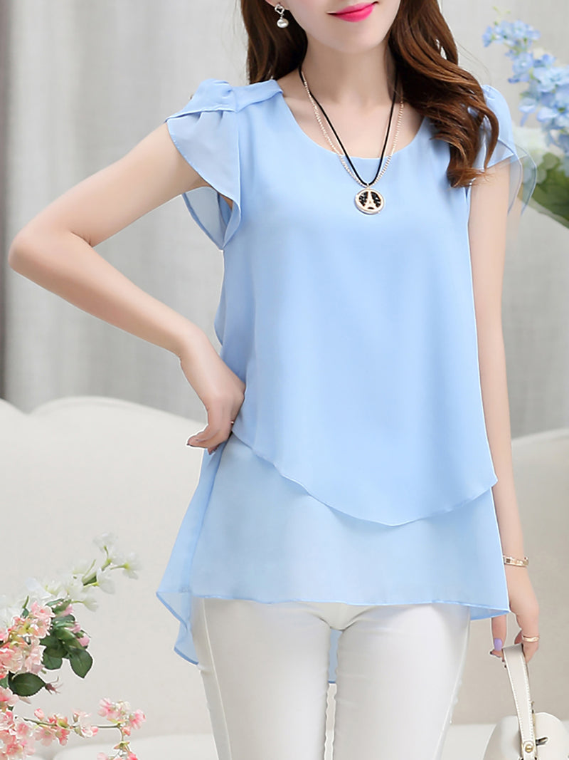 Crew Neck Chiffon Short Sleeve Solid Blouse