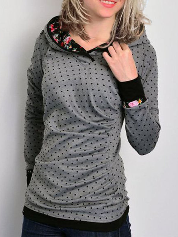 Gray Printed Cotton-Blend Long Sleeve Hoodie Sweatshirt