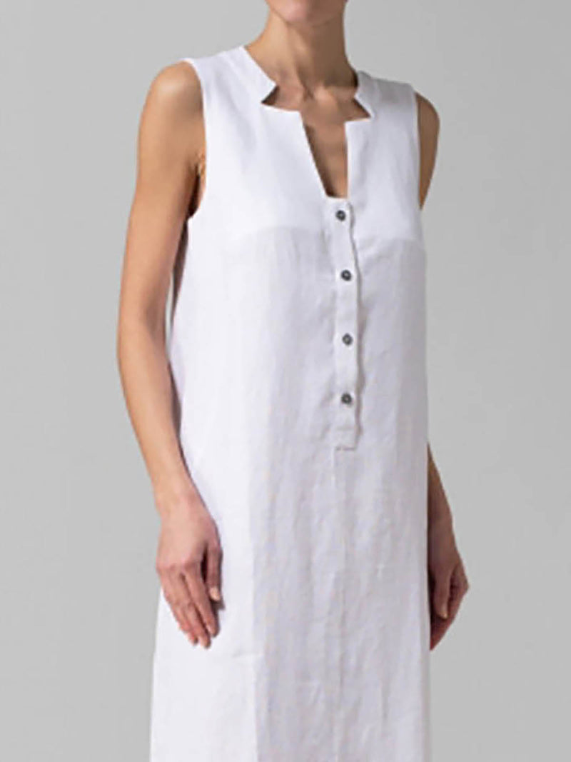 V neck  Shift Women Daily Basic Sleeveless Cotton Paneled Solid Summer Dress