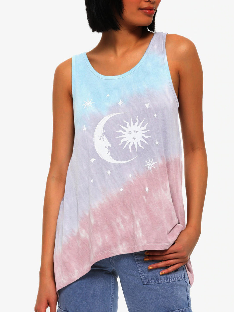 Floral-Print Star Sleeveless Cotton Vests