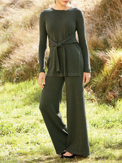 Army Green Paneled Crew Neck Long Sleeve Plain Suit