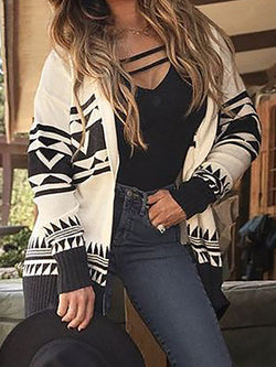 White Long Sleeve Shift Acrylic Halter Sweater
