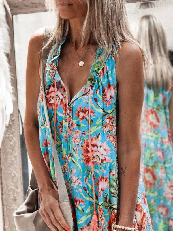 Floral-print Holiday Sleeveless Dresses