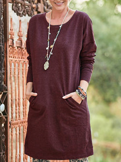 Casual Soft Pockets Cotton Dresses