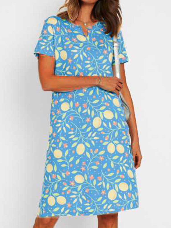 Floral ladies dress pocket midi dress