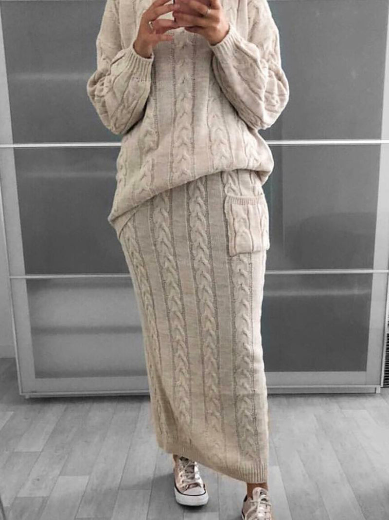 Plus SIze Two Piece Women Knitted Dresses Suit Sets