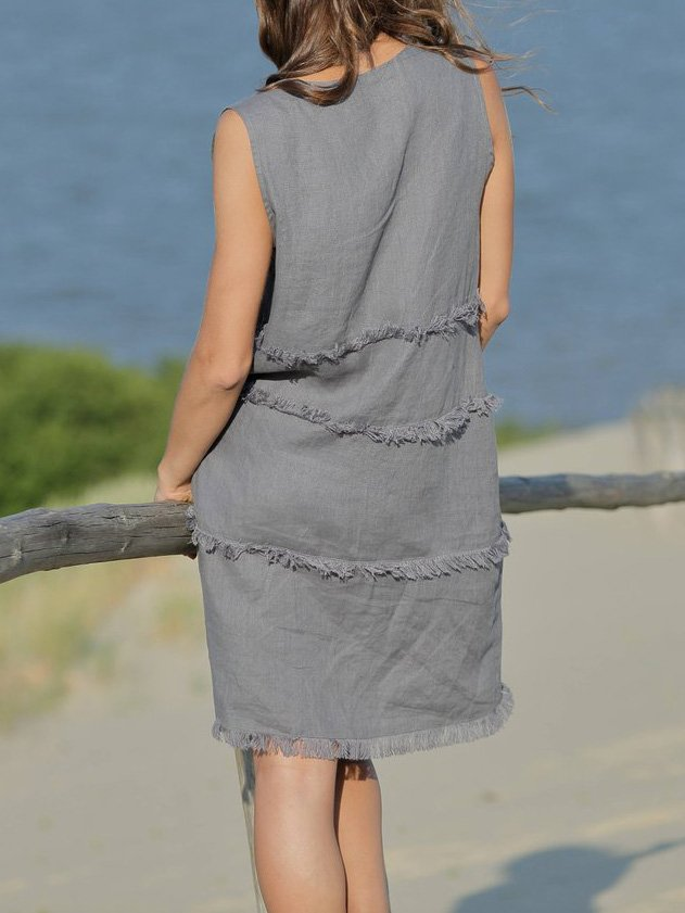 Sleeveless Linen V Neck Dresses