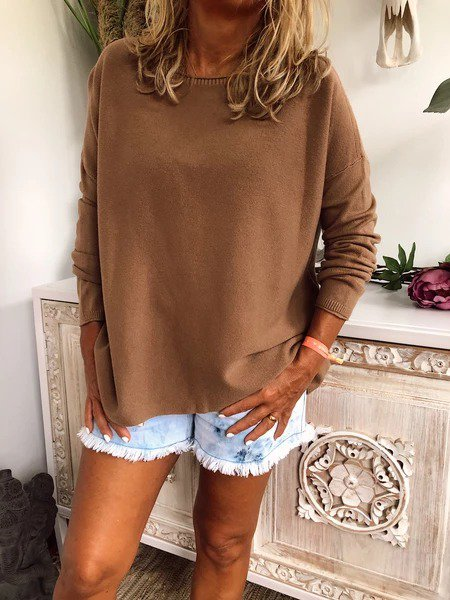 Solid Casual Knitted Long Sleeve Sweater