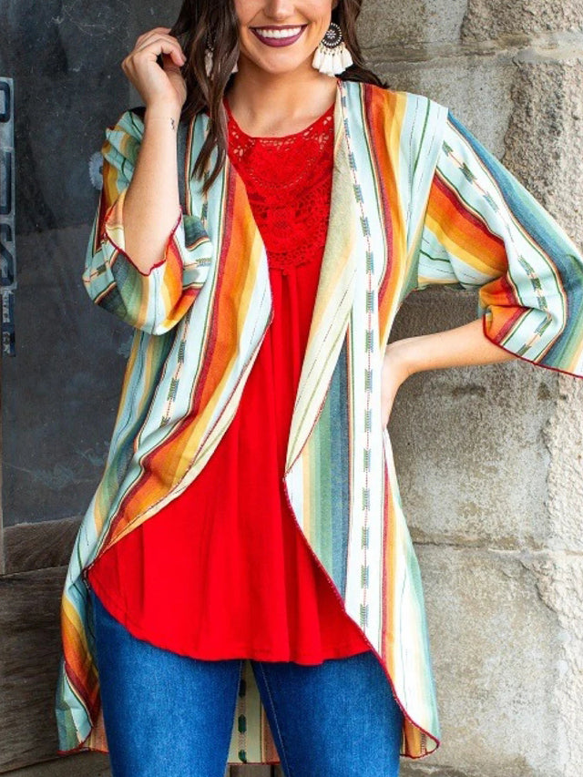 Cotton-Blend V Neck Casual Outerwear