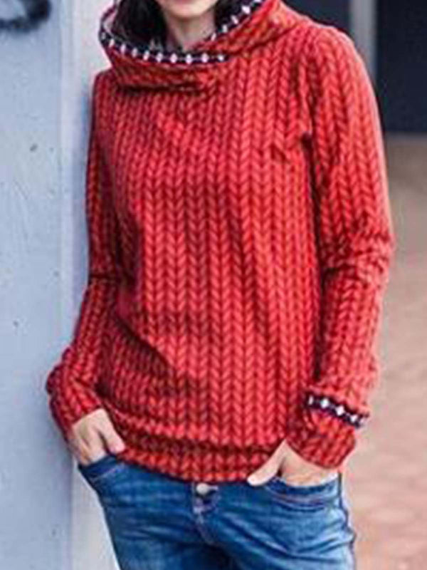 Red Printed Cotton-Blend Casual Sweatshirt