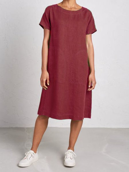 Cotton-Blend Round Neck Short Sleeve Casual Dresses