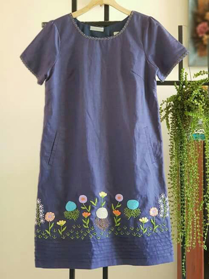 Crew Neck Blue Women Dresses Shift Embroidered Floral Dresses