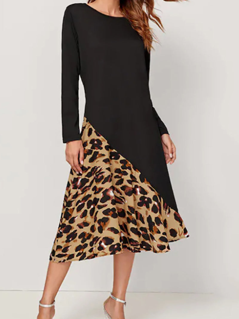 Black Round Neck Cotton-Blend Casual Leopard-Print Dresses