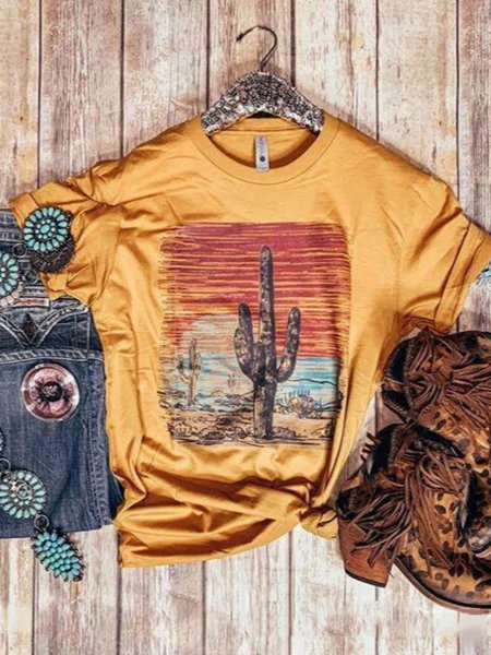 Yellow Short Sleeve Crew Neck Shirts & Tops