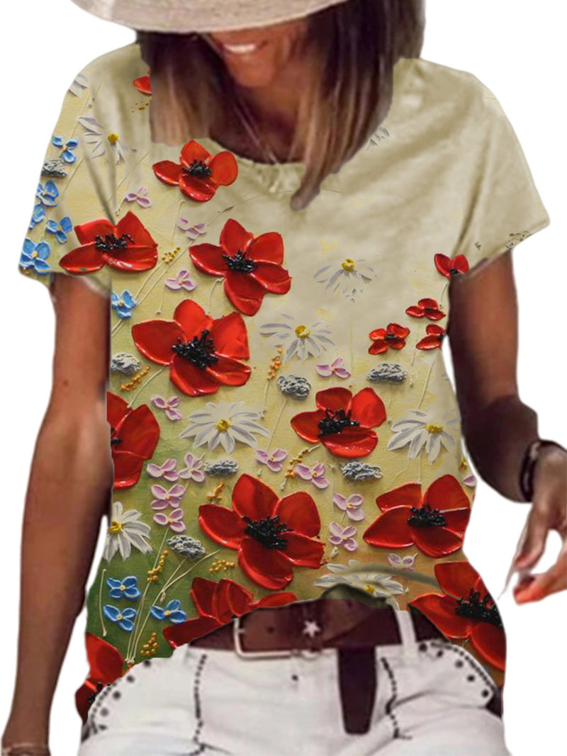 Beige Floral Cotton-Blend Round Neck Short Sleeve Shirts & Tops