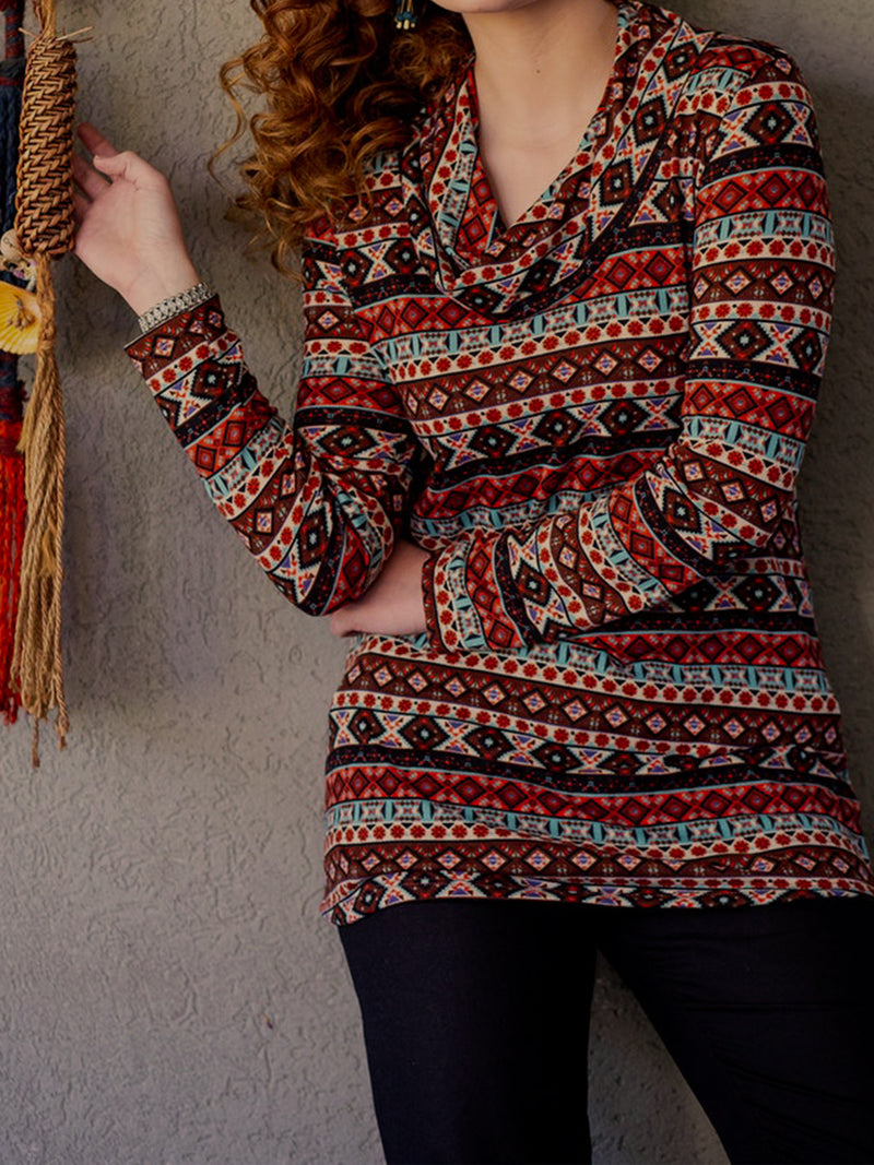 Tribal Long Sleeve Floral-Print Shirts & Tops