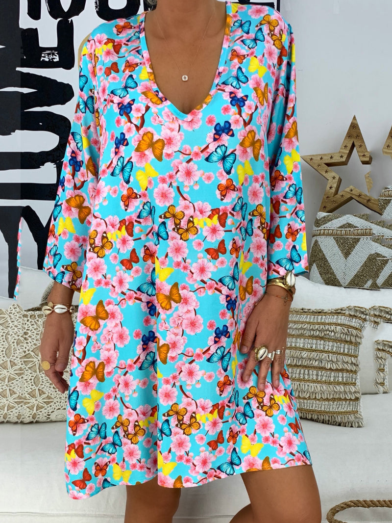 V Neck Women Shift Daytime Floral Dresses