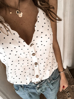 Women  Sleeveless Polka Dots V Neck Vests