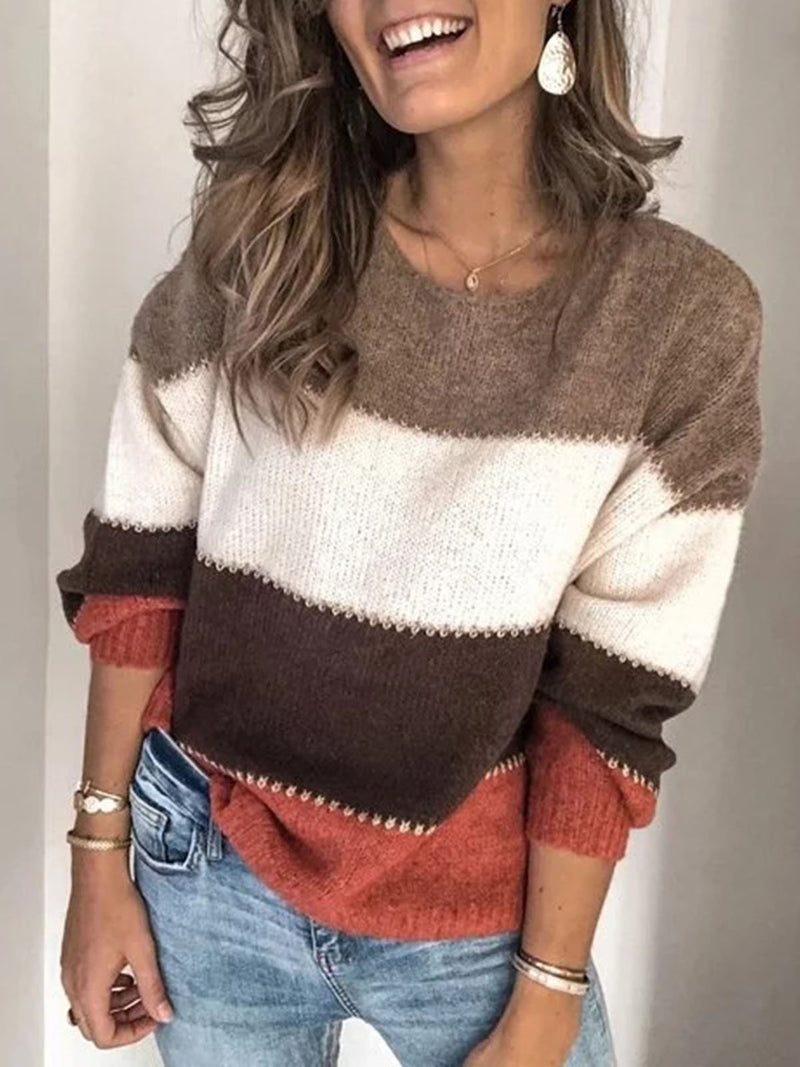 Long Sleeve Casual Paneled Crew Neck Sweater