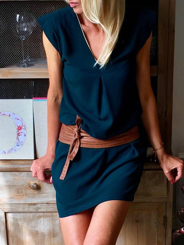Shift Casual Plain V neck Dresses