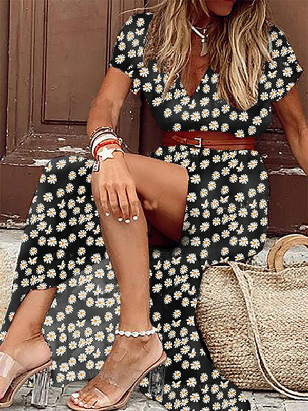 Black Printed Boho Short Sleeve V Neck Dresses