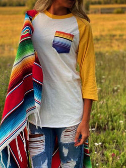 Cotton-Blend Tribal Casual Paneled Shirts & Tops