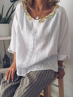 Casual Peter Pan Collar Buttoned Cotton-Blend Shirts & Tops