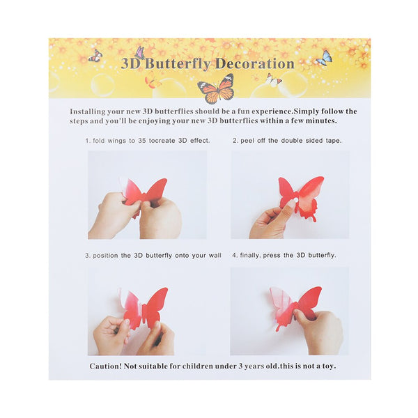 Set Vinyl 3D Butterfly Stickers Decals Wall - 12PCS