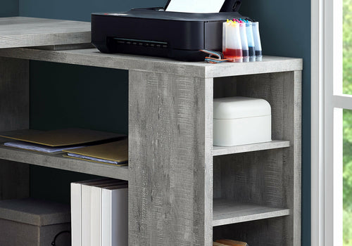Computer Desk - Grey, Particle Board, Hollow-Core
