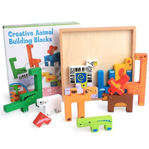 High Quality Baby Wooden Toys 3D Blocks Animal Building Blocks Stack