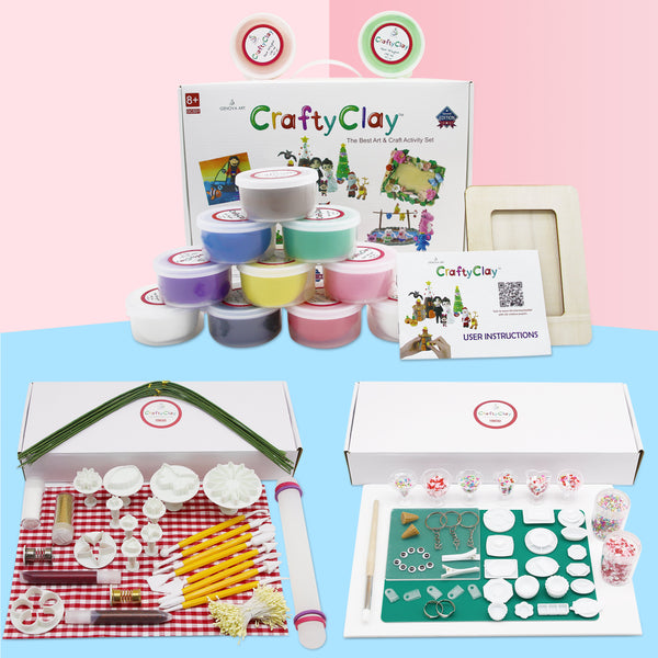 Air Dry Modeling Clays With Craft and Cake Tools and Accessories