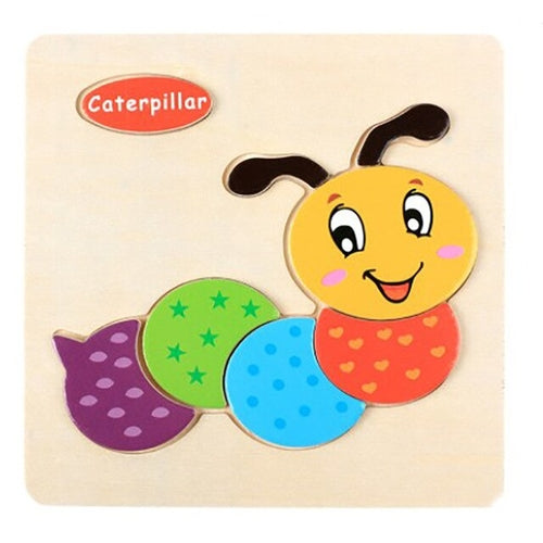 Wooden 3D Puzzle Jigsaw Toys For Children Cartoon