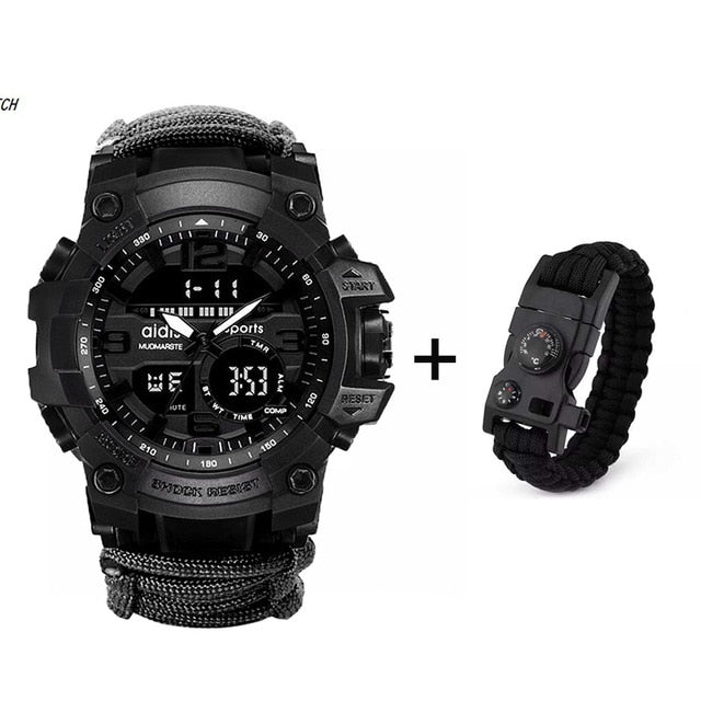 NEW QUALITY Digital Multi-functional Survival Watch, Compass+Fire Starter Scraper [BRAND NEW]